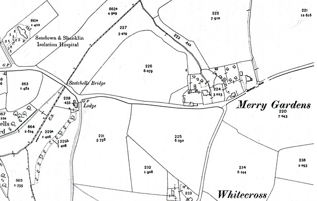 Map of the Sandown and Shanklin Joint Isolation Hospital at Scotchell's Brook