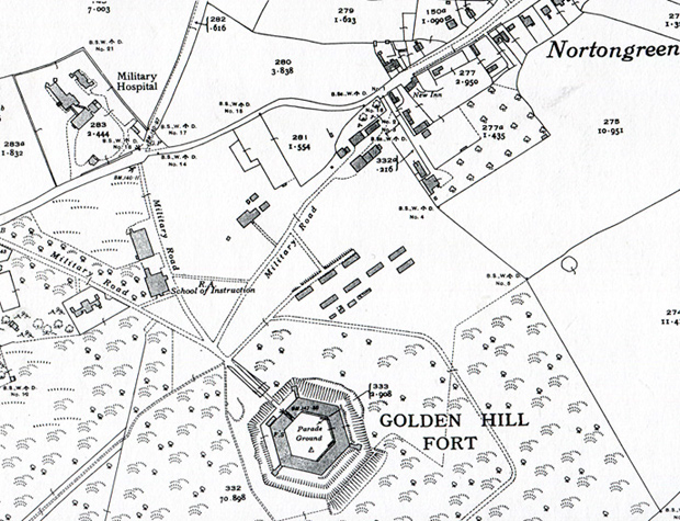 Map of the Military Hospital serving the Golden Hill Fort.