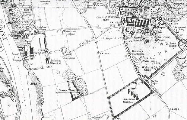 Map of the site of the two small hospitals serving the Royal Naval College at Osborne.
