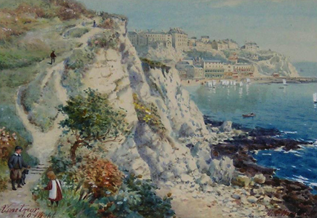 Picture of Watercolour; Young blackberry gatherers Steephill, Ventnor beyond'