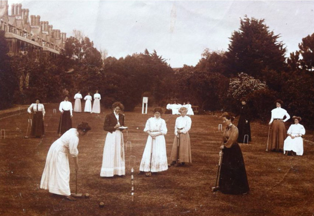Picture of Ladies enjoying croquet on the terraces. RNVH