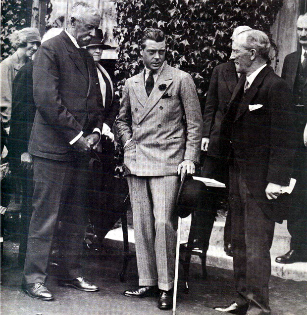 Picture of The Price of Wales standing outside the Royal Isle of Wight County Hospital during his tour of the Island in July 1926. On his left is Arthur Andrews, Chairman of the hospital's Board of Governors.